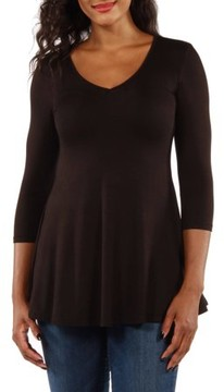 24/7 Comfort Apparel Women's Sublime Silky Black Tunic Top