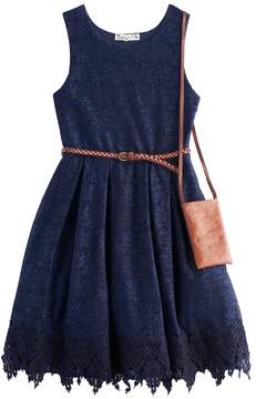 Knitworks Girls 7-16 Lace Belted Skater Dress with Crossbody Purse