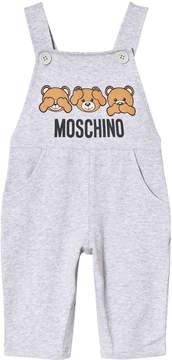 Moschino Grey Bear Jersey Unisex Dungarees