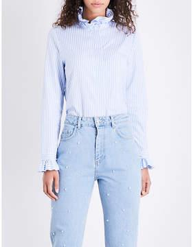 Claudie Pierlot Ruffled striped cotton-poplin shirt