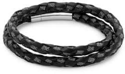 Tateossian Sterling Silver and Leather Braided Bracelet