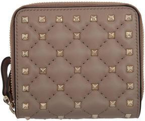 Valentino Pink Garavani Rockstud Spike Zip Around French Wallet