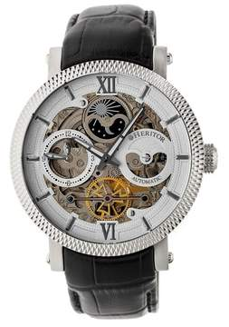 Heritor Aries Silver Skeleton Moonphase Dial Black Leather Strap Automatic Men's Watch