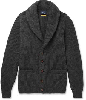 Drakes Drake's Easyday Shawl-Collar Ribbed-Knit Wool Cardigan