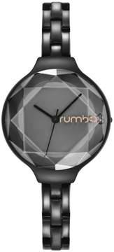 RumbaTime Orchard Gem Faceted Crystal Black Stainless Steel Bracelet Watch