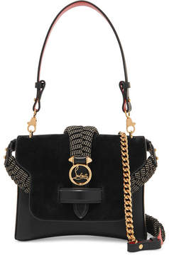 Christian Louboutin Rubylou Small Laser-cut Textured-leather And Suede Shoulder Bag - Black