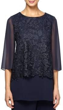 Alex Evenings Lace Overlay Tunic Blouse
