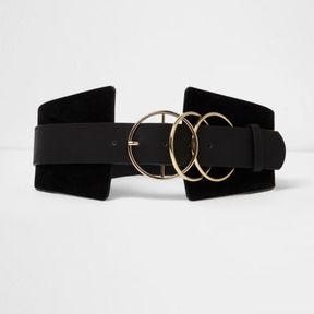 River Island Womens Black triple ring wide waist belt