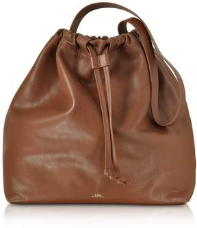 A.P.C. Brown Leather Lena Bucket Bag