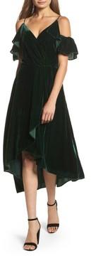 Chelsea28 Women's Cold Shoulder Velvet Midi Dress