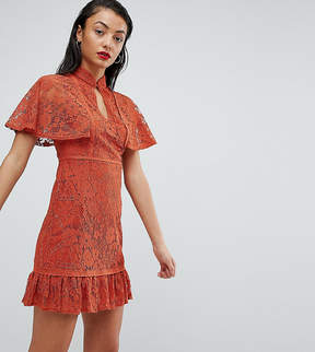 Fashion Union Tall High Neck All Over Lace Dress With Peplum Hem
