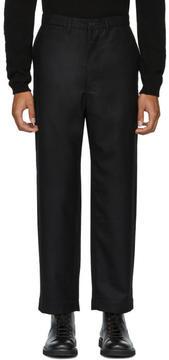 Junya Watanabe Black Wool Twill Flannel Trousers