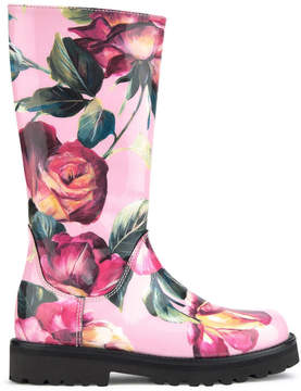 Dolce & Gabbana Tulip print leather boots