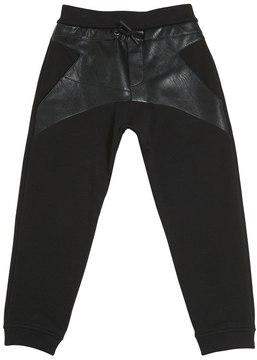 Armani Junior Faux Leather & Cotton Sweatpants