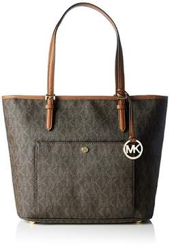 MICHAEL Michael Kors Jet Set Snap-Pocket Tote - BROWN LOGO - MINI - STYLE