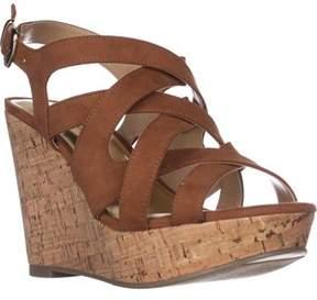 Thalia Sodi Ts35 Maddor Casual Wedge Sandals, Cognac.