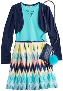 Knitworks Girls 7-16 & Plus Size Shrug & Chevron Textured Skater Dress Set with Purse