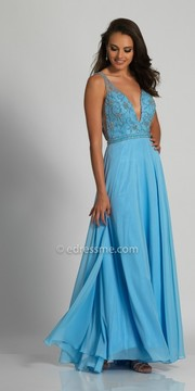 Dave and Johnny Plunging Side Illusion Beaded Prom Dress