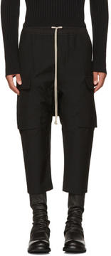Rick Owens Black Wool Drawstring Cropped Cargo Pants