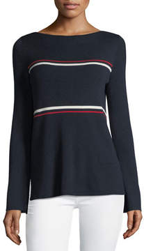 Neiman Marcus Crewneck Striped Bell-Sleeve Pullover