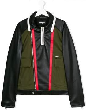 DSQUARED2 teen leather moto jacket