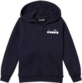 Diadora Navy Branded Zip Through Hoodie