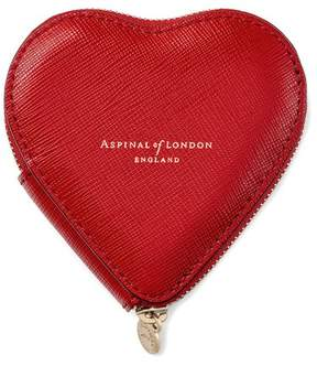 Aspinal of London Heart Coin Purse In Scarlet Saffiano