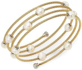 Alor Women's Classique 1.6MM White Round Freshwater Pearl, 18K Yellow Gold & Stainless Steel Bracelet