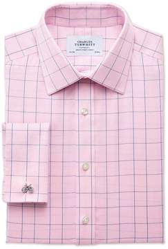 Charles Tyrwhitt Extra Slim Fit Non-Iron Prince Of Wales Check Pink and Blue Cotton Dress Shirt French Cuff Size 15/33