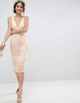 Asos DESIGN Bridesmaid delicate lace pencil dress with embroidered flowers