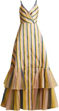 Carolina Herrera V-neck striped gown