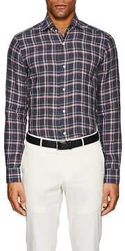Barba Men's Plaid Slub-Weave Linen Shirt