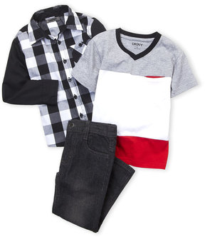 DKNY Toddler Boys) 3-Piece Color Block Tee & Jeans Set