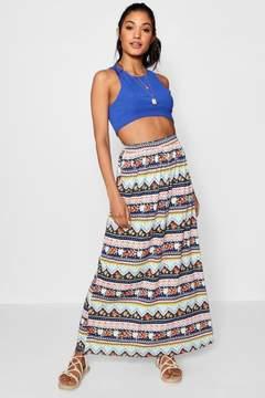 boohoo Aztec Flower Print Maxi Skirt