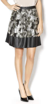 Ark & Co Pleated Leather Sequin Skirt