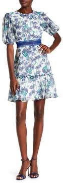 Donna Morgan Short Sleeve Chiffon Fit and Flare Dress