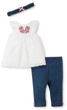 Little Me Baby Girl's Three-Piece Embroidered Top, Leggings and Headband Set