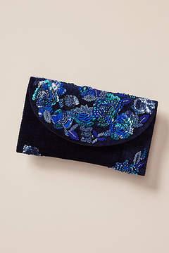 Anthropologie Last Dance Embroidered Velvet Clutch