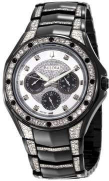 Bulova Black Stainless Steel Crystal Chronograph Mens Watch 98C102