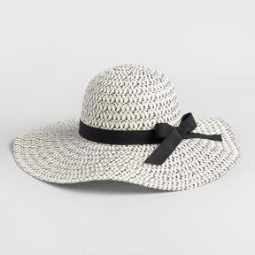World Market Black and White Bow Sun Hat