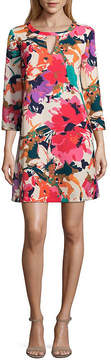 ECI WESLEE ROSE 3/4 Sleeve Floral Crepe Dress