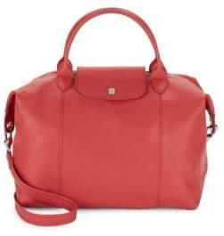 Longchamp Le Pliage Cuir Leather Shoulder Bag - MEDIUM RED - STYLE