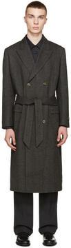 Marc Jacobs Black and Grey Herringbone Coat