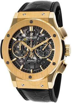 Hublot Classic Fusion Pele Skeleton Dial Black Leather Band Automatic Men's Watch
