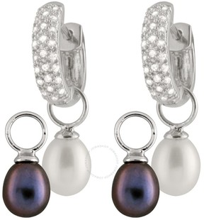Bella Pearl Night and Day Customizable Huggie Earrings