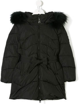 MonnaLisa hooded parka with fur trim