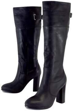 Kelsi Dagger Black Leather Chunky Heel Boots