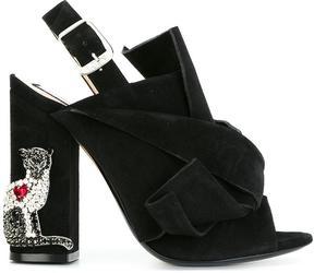 No.21 crystal embellished knot front sandals