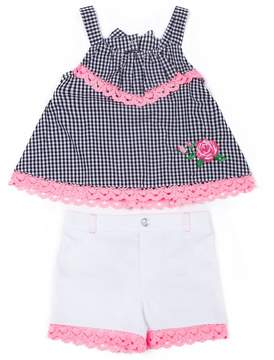 Little Lass Baby Girl Gingham Tank Top & Crochet Shorts Set