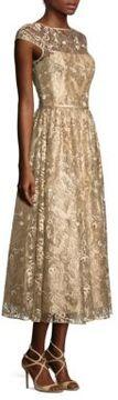Theia Metallic Embroidered Midi Dress